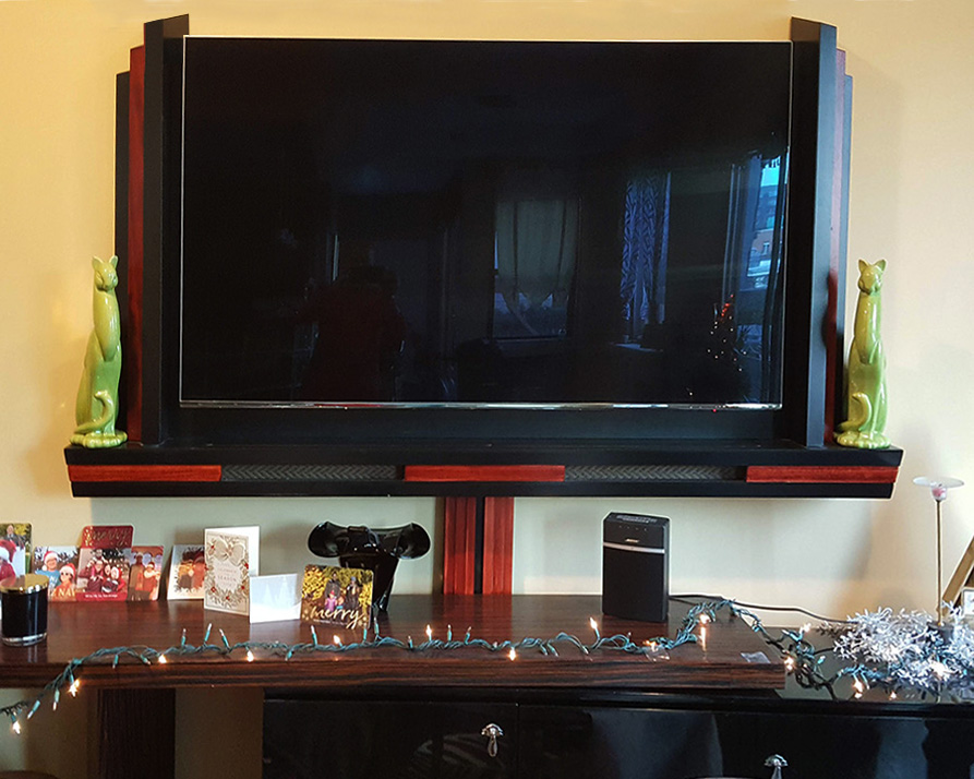 TV Frame with soundbar enclosure and cable cover